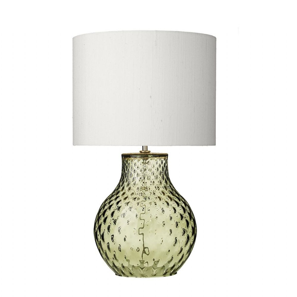 Azores Table Lamp Olive Green Dimpled Glass Small Base Only (Hand made, 7-10 day Delivery)